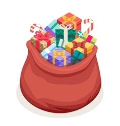 Isometric 3d San Gifts Bag New Year Christmas Flat vector image