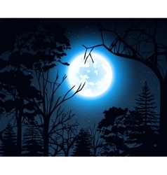 Night landscape with starry sky and full moon on a vector