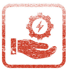 Electricity gear service hand framed textured icon vector