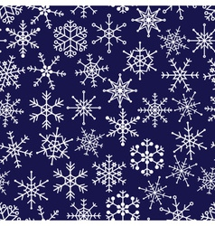 16 types of white snowflakes in seamless pattern vector