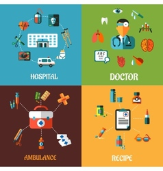 Flat medical concept designs vector image