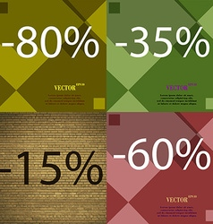 35 15 60 icon set of percent discount on abstract vector
