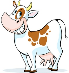 Funny cow cartoon standing isolated on white vector