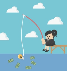 Businessman fishing money vector