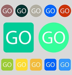Go sign icon 12 colored buttons flat design vector