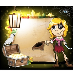 Pirate girl parrot and treasure chest vector