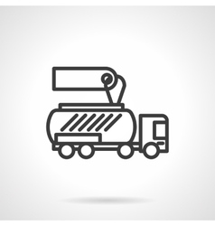 Gasoline tanker black line design icon vector