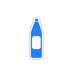Paper sticker on white background bottle water vector