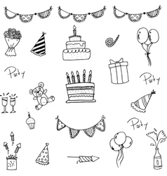 Doodle of set birthday for kids vector