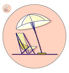 Beach chaise longue with umbrella flat vector