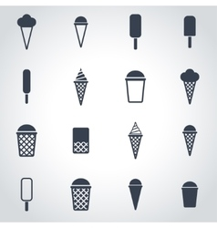 black ice cream icon set vector image