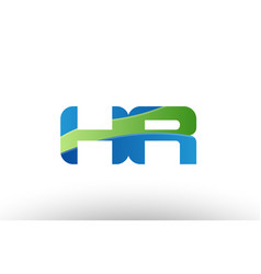 Blue green hr h r alphabet letter logo vector