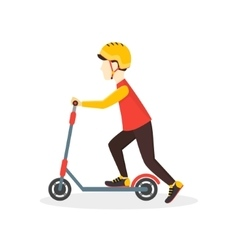 Boy Kid Rides on a Scooter vector image
