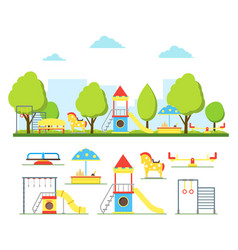 cartoon playground in city and element set vector image vector image