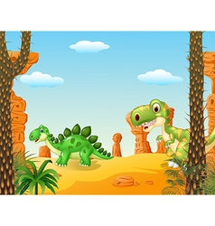 Cartoon stegosaurus with tyrannosaurus vector image vector image