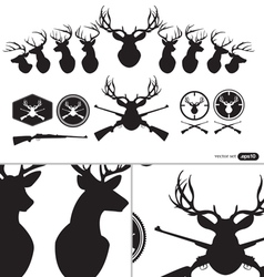 Deer Hunter Heads set vector image vector image