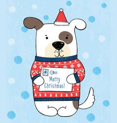 Dog in red polka dot sweater vector