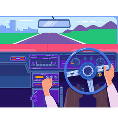 Driving a car on the highway car on the road a vector
