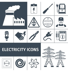 Electricity icons black set vector