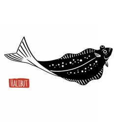Halibut black and white vector image vector image