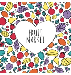 Hand-drawn fruit market concept heart shape with vector