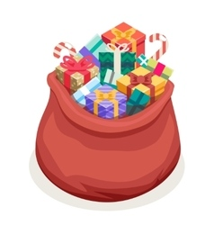Isometric 3d San Gifts Bag New Year Christmas Flat vector image