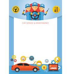 Mechanic and Car Maintenance Service Frame vector image vector image