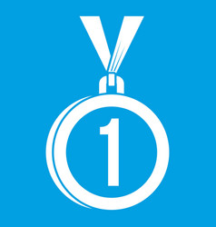 Medal for first place icon white vector