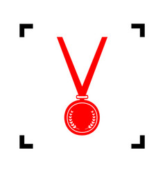 medal simple sign red icon inside black vector image