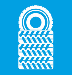 Pile of tires icon white vector