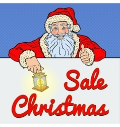 Pop art santa claus with christmas sale banner vector