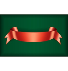 Red ribbon satin green vector image vector image
