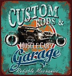 Rusty hot rod garage vector