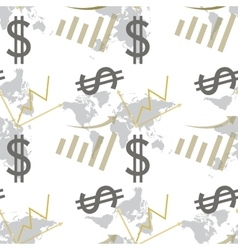Seamless pattern dollar and chart vector image vector image