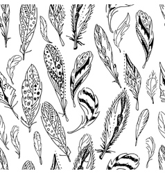 Seamless pattern with feathers Black and white vector image