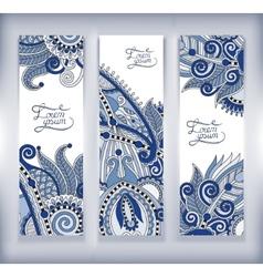 set of decorative flower template banner card web vector image