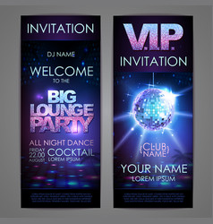 set of disco background banners big lounge party vector image