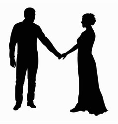 silhouette of a young guy and a girl in a long vector image