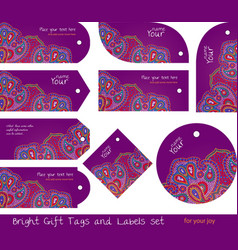 Tags for gifts and goods hippie purple vector