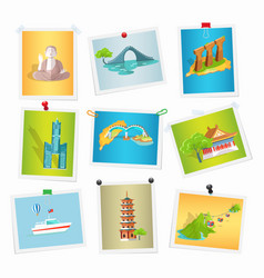 Taiwan sightseeings pictures collection on white vector