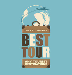 Travel banner with a suitcase and planet earth vector