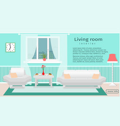 website banner of living room interior with vector image vector image