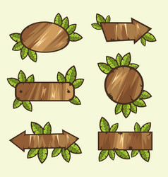 wooden signs with leaves vector image