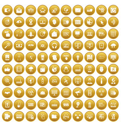100 cyber security icons set gold vector