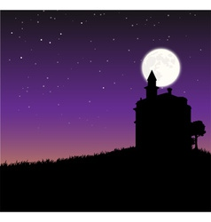 Night sky with castle an moon vector