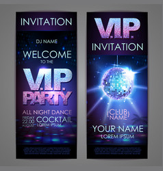Set of disco background banners vip party vector