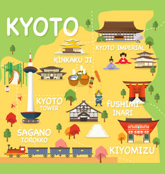 map of kyoto vector image