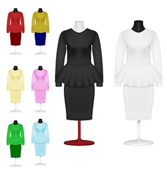 Female plain suit and skirt template set vector