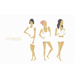 Slender shape fitness girls vector
