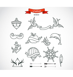 Set of modern tattoo art vector